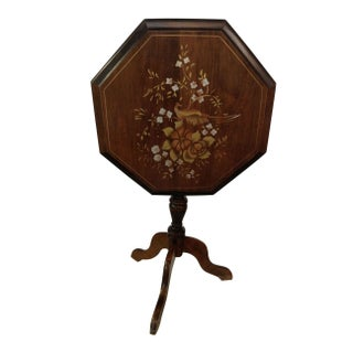 Tilt Top Side Table with Painted Bird Motif