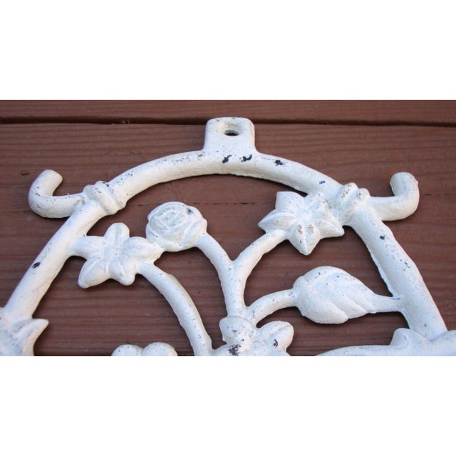 Painted White Cast Iron Floral Candle Sconces - 2 - Image 10 of 11