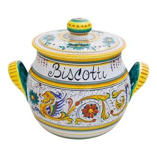 Italian Majolica Raffaellesco Biscotti Jar