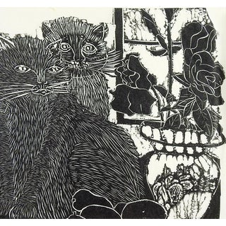 Cats at the Window Block Print