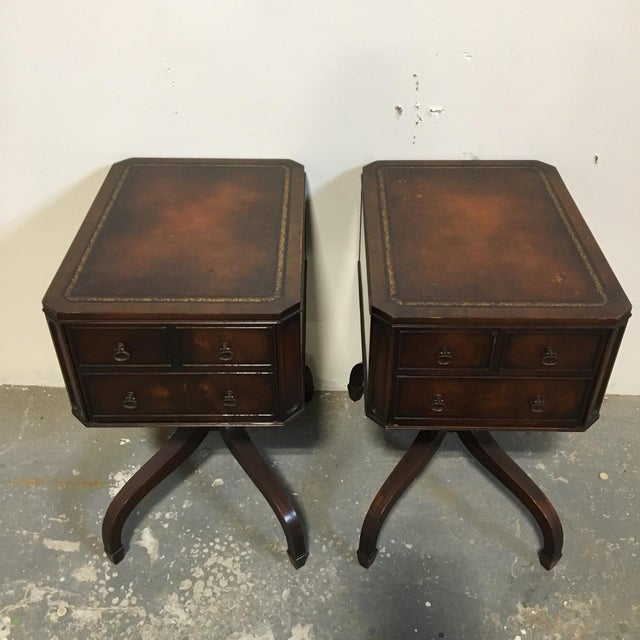Tooled Leather Topped Side Tables - A Pair - Image 4 of 8
