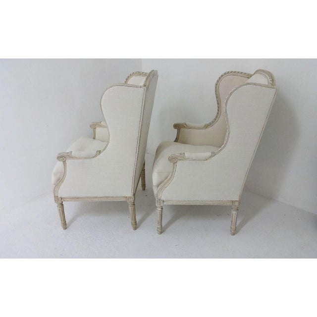 Antique Bergere Wingback Chairs - A Pair - Image 7 of 8