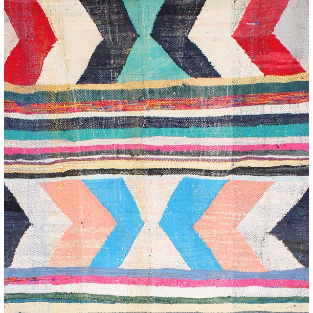 "Moroccan Kilim Boucherouite Rug - 4'9"" X 10'8"" - Image 2 of 6"