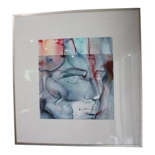 Abstract Man Watercolor Painting by Saba