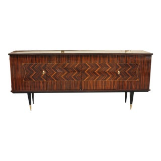 Long French Art Deco Exotic Macassar Ebony Zig Zag Sideboard / Buffet / Bar, circa 1940s