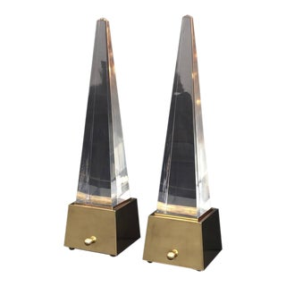 Pair of Brass and Lucite Pyramid Lamps Style of Gabriella Crespi