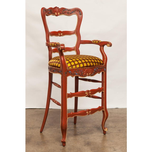 Carved French Country Red Bar Stools - A Pair - Image 2 of 10