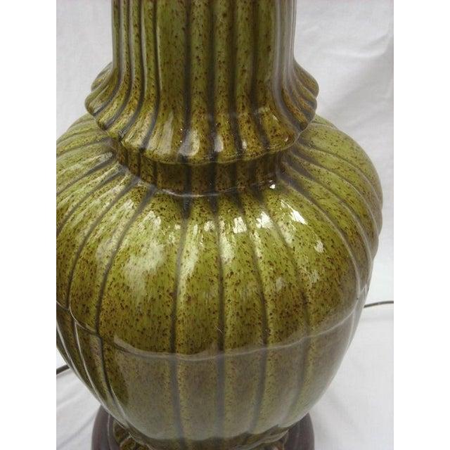 Hollywood Regency Ginger Jar Green Lamps - Pair - Image 7 of 8