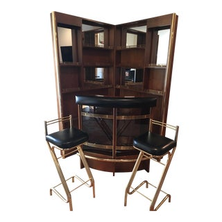 Folding Art Deco Bar With 2 Bar Stools