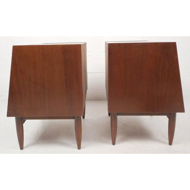 Image of Mid-Century Modern Drop Front Walnut Nightstands