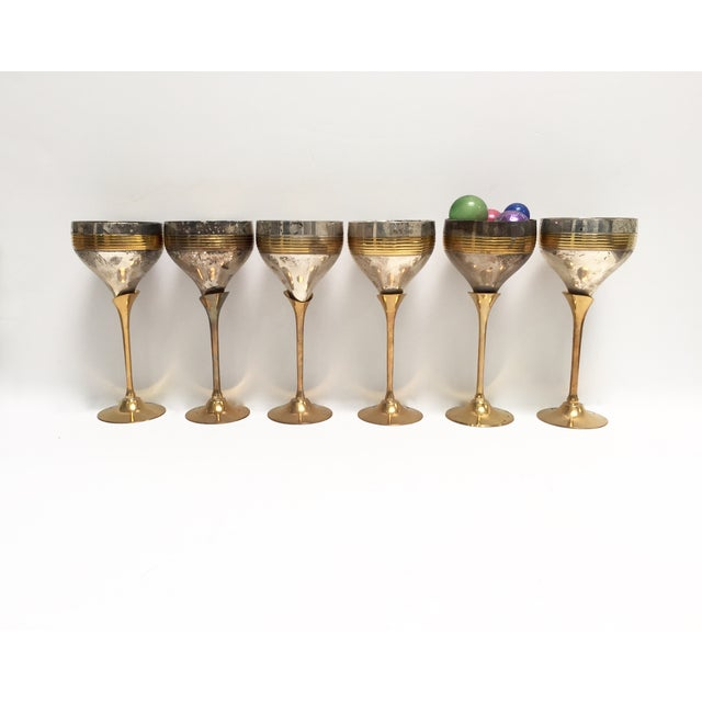 Image of Vintage Silverplate and Brass Goblets - Set of 6