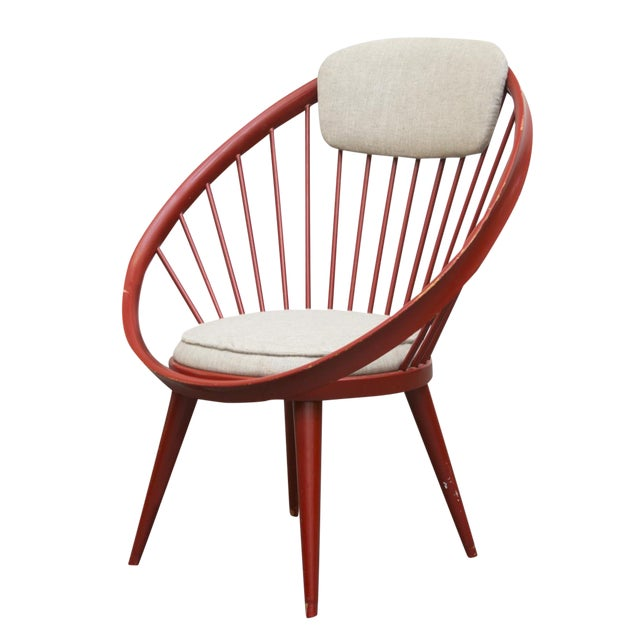 Swedish Red Hoop Lounge Chair - Image 1 of 11