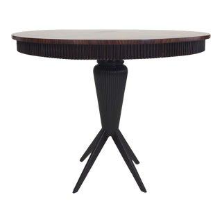 Round Mid-Century Italian Center Table with Sunburst Walnut Top 1940s