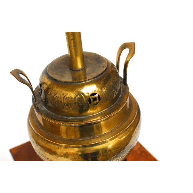 Chinese Incised Brass Urn Table Lamp - Image 4 of 5