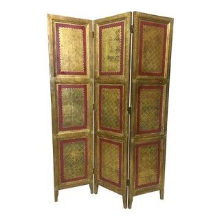 Gilded Italian Florentine Folding Screen