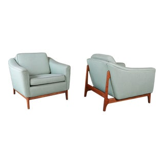 Pair of Mid Century Swedish Floating Walnut Base Chairs by Dux