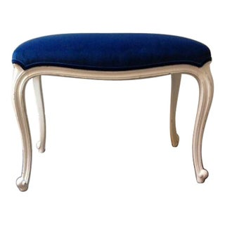 Antique Bench with Sapphire Velvet Fabric