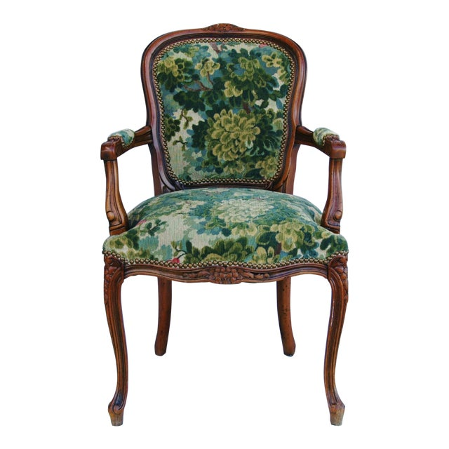 Scalamandre Marly Velvet Tapestry Fabric Walnut Armchair - Image 1 of 11