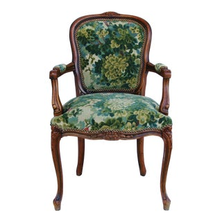 Scalamandre Marly Velvet Tapestry Fabric Walnut Armchair