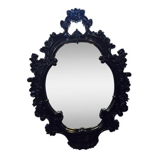 Black Lacquered Vintage Mirror