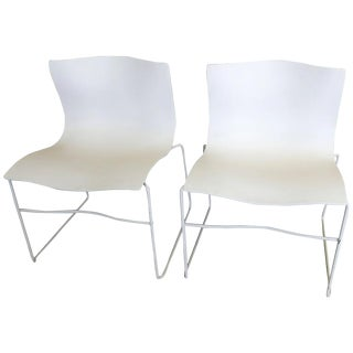 Knoll Mid-Century White Chairs - A Pair