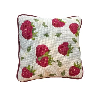 Strawberry Motif Needlepoint Pillow