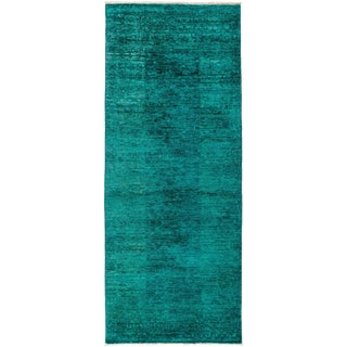 New Overdyed Hand Knotted Runner - 3' x 7'6""