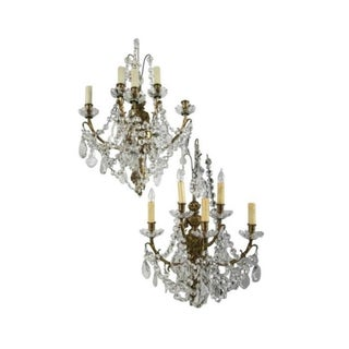 Antique Crystal Prism Wall Sconces - Pair