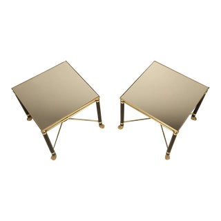 Pair of French End Tables in Brass and Glass