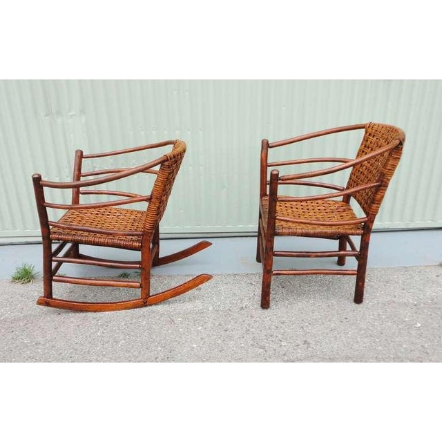 Pair of Signed Old Hickory Barrel Back Rocker and Side Chair - Image 2 of 9