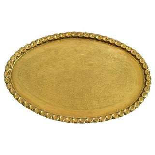 Hammered Brass Tray with Scalloped Edge