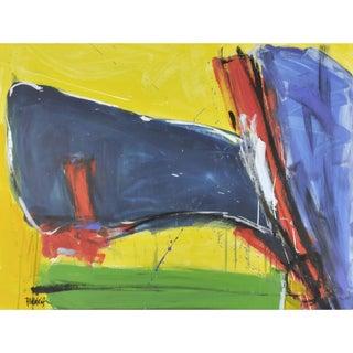 Orange Blue Orange Blue Acrylic Abstract Painting
