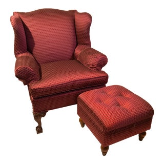 Red Wingback Chair & Ottoman - A Pair
