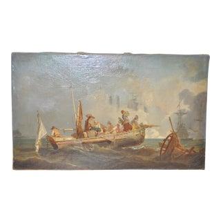 19th Century Maritime Battle Oil Painting