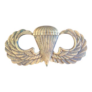 WWII US Army Paratrooper Brass Wall Plaque
