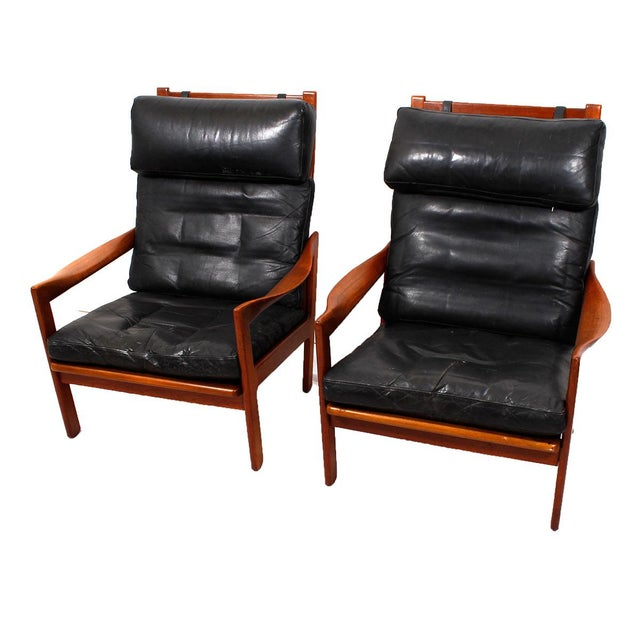 Image of Illum Wikkelso Teak & Leather Lounge Chairs - Pair