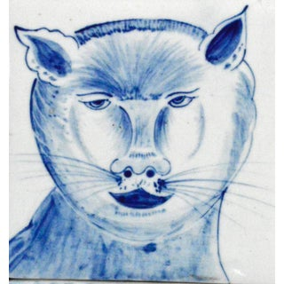 Dutch Tin-Glazed Earthenware Tile Picture of a Cat