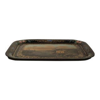 19th Century French Napoleon III Hand-Painted Tole Tray