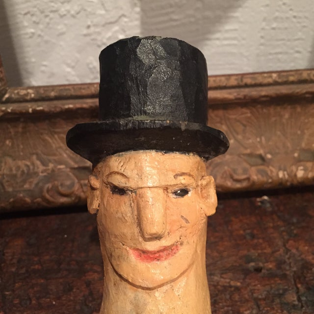 Image of Vintage Folk Art Wooden Head With Hat