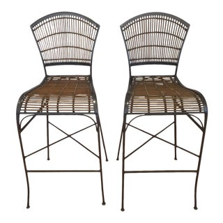 Metal Faux Bamboo Bar Stools - A Pair
