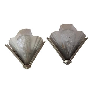 Wall Sconces French Atelier Petitot Art Deco - a Pair