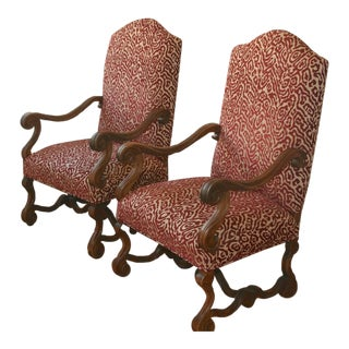 Louis XIV Fruitwood Arm Chairs - Each (Two Availble)