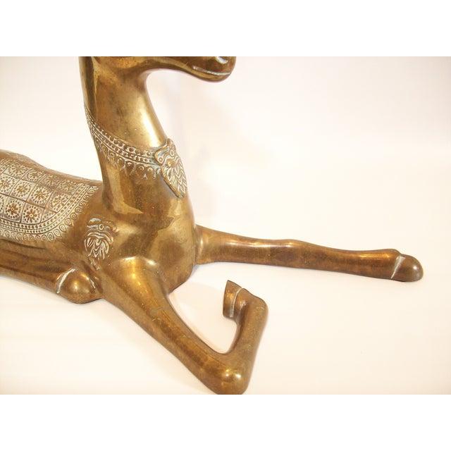 Hollywood Regency Brass Reindeer Statue - Image 5 of 9