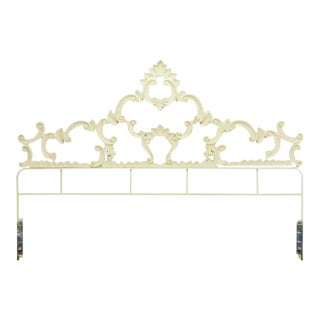 Vintage Painted Cast Metal Hollywood Regency King Headboard