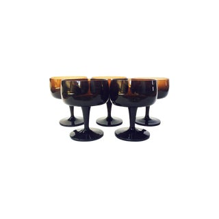 Mid-Century Brown Coupe Cocktail Glasses - Set of 5