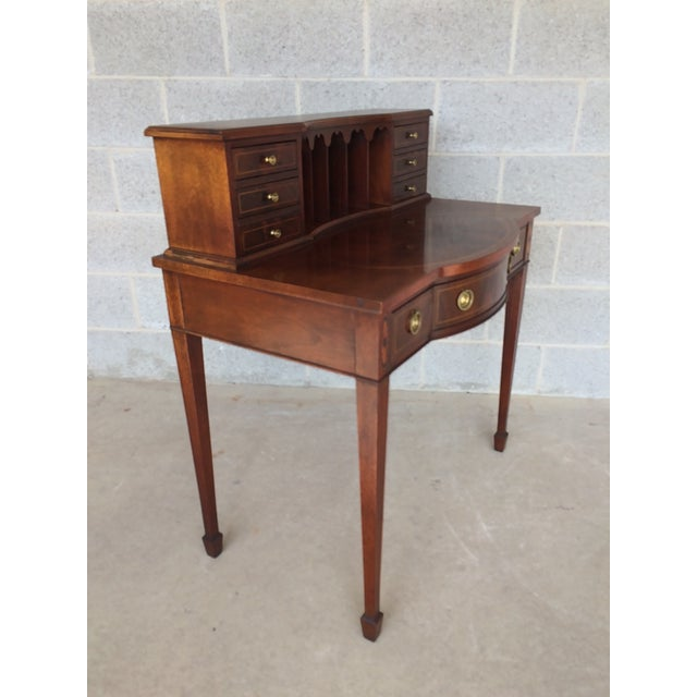 Baker Furniture Inlaid Mahogany 9 Drawer Writing Desk - Image 3 of 9
