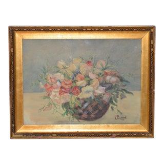 """Antique Watercolor """"Floral Basket Still Life"""" by C. Ledeick c.1917"""