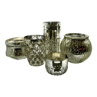 Mercury Glass Votives - Set of 5