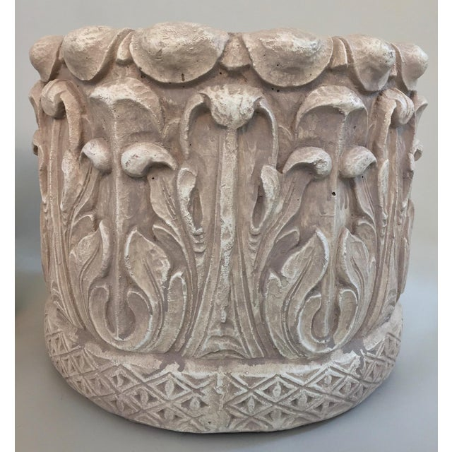 Pair cast concrete acanthus leaf arts and crafts planters for The actor s art and craft