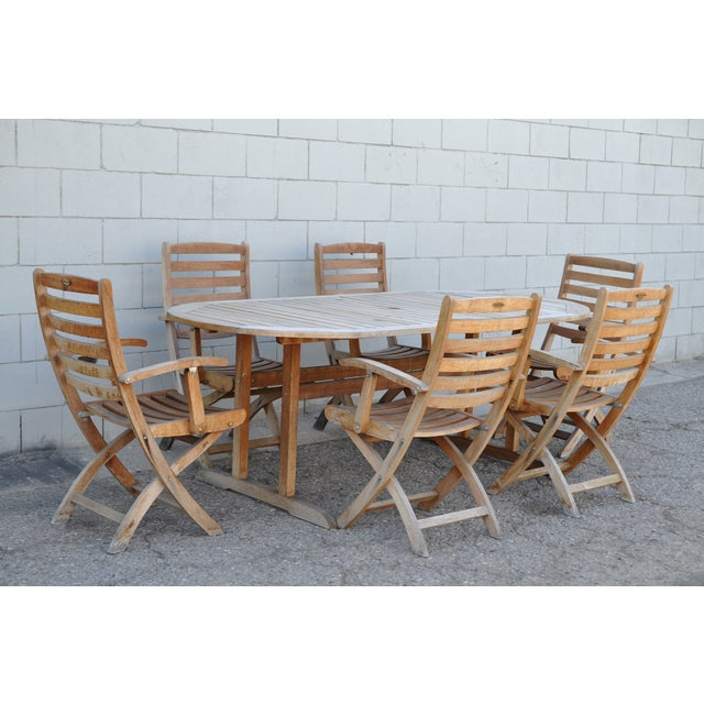 rustic teak patio dining table 6 chairs chairish